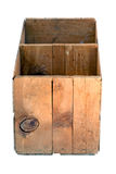 Old empty wooden orchard crate isolated. Stock Image