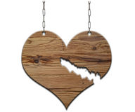 Old empty wooden sign broken heart Stock Image