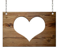 Old empty wooden sign heart Royalty Free Stock Photos