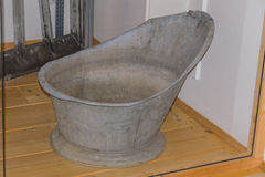 Old Galvanized Tin Sit In Bathing Tub Isolated Stock