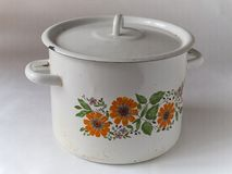 Old enamel cookware Stock Image