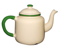 Old Enamel Teapot. Isolated with clipping path stock photos
