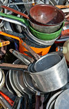Old enameled and aluminum cookware Royalty Free Stock Image