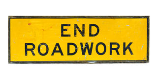Old end roadwork traffic sign Royalty Free Stock Photos