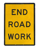 Old end roadwork traffic sign Royalty Free Stock Images