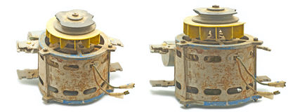 Old engine. In two positions on white background Royalty Free Stock Photography