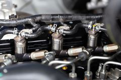Close up view of engine parts. royalty free stock photography