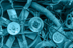 Old engine details, blue color tone Royalty Free Stock Photo
