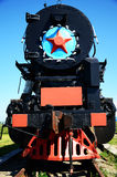 Old engine locomotive. Front view of old engine locomotive Royalty Free Stock Photo