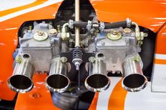 Old engine on a racing car such as formula Stock Images
