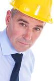 Old engineer closeup portrait Stock Images