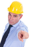 Old engineer pointing at you Stock Photography
