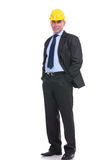 Old engineer portrait with hands in pockets Royalty Free Stock Photo