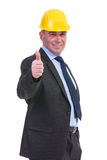 Old engineer shows thumbs up Royalty Free Stock Photo