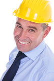 Old engineer smiles for the camera Stock Photos