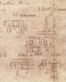Old engineering blueprint Stock Image