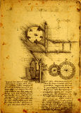 Old Engineering drawing Royalty Free Stock Image