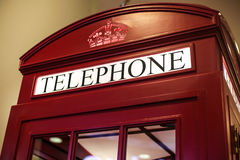Old England style red telephone booth | Famous urban Europe traditional communication Royalty Free Stock Images