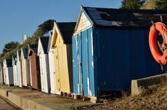Old english beach huts Royalty Free Stock Photography