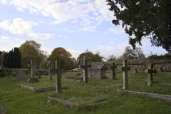 Old English Church cemetery. Church cemetery Royalty Free Stock Photo