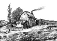 Old English Cottage Drawing Stock Images