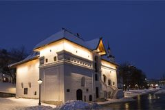 The old English court on a winter evening. Varvarka Street, Moscow Royalty Free Stock Photography