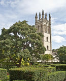 Old English garden with castle on the background Royalty Free Stock Images