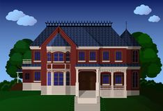 Old English mansion. From red bricks Royalty Free Stock Photography