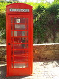 Old English phone booth. Bad Muenstereifel, Germany 2014 Royalty Free Stock Images