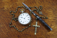 Old English pocket fob watch and chain Royalty Free Stock Images