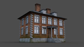 Old English red brick house. Render Royalty Free Stock Photography