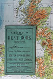 Old English rent book over old 1945 map. South yorkshire, dating to 1930 - 1931 Royalty Free Stock Photos