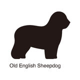 Old English Sheepdog dog silhouette, side view, vector Stock Photos