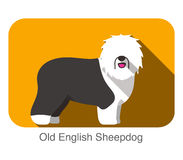 Old English Sheepdog, dog standing flat icon design Royalty Free Stock Photo