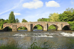 Old English Stone Bridge. Old Stone bridge with arches in Bickleigh Devon England Royalty Free Stock Photo