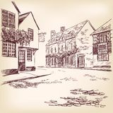 Old English street  hand drawn Royalty Free Stock Photography