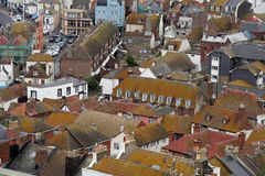 Old English town. Hastings old town sussex England from above the rooftops Royalty Free Stock Photo