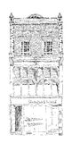 Old English town house with small shop or business on ground floor. Bond street, London. Sketch. Collection Royalty Free Stock Image