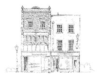 Old English town house with small shop or business on ground floor. Sketch collection Royalty Free Stock Images