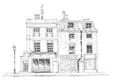 Old English town houses with shops on the ground floor. Sketch collection famous buildings. Old English town houses with shops on the ground floor. Sketch Stock Image