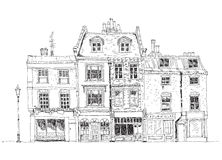 Old English town houses with shops on the ground floor. Sketch collection famous buildings Stock Images