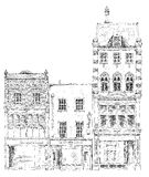 Old English town houses with small shops or business on ground floor. Bond street, London. Sketch. Collection Royalty Free Stock Photography