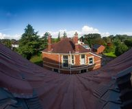 Old English traditional stone cottage- top view.  Royalty Free Stock Images