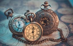 Old Engraved Metal Watch Pendant royalty free stock photo