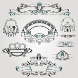Old engraving banner with warior grape and isects Royalty Free Stock Photos