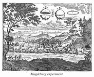 Old engraving, Magdeburg experiment stock illustration