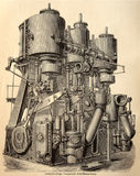 Old engraving of steam engine Royalty Free Stock Image