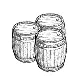 Old engraving wine beer barrel Stock Images