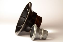 Old enlarger lens and condenser on light gradient Stock Image
