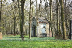 Old entombment on abandoned graveyard. Old entombment on abandoned Pokrov graveyard in Riga, Latvia Stock Photography
